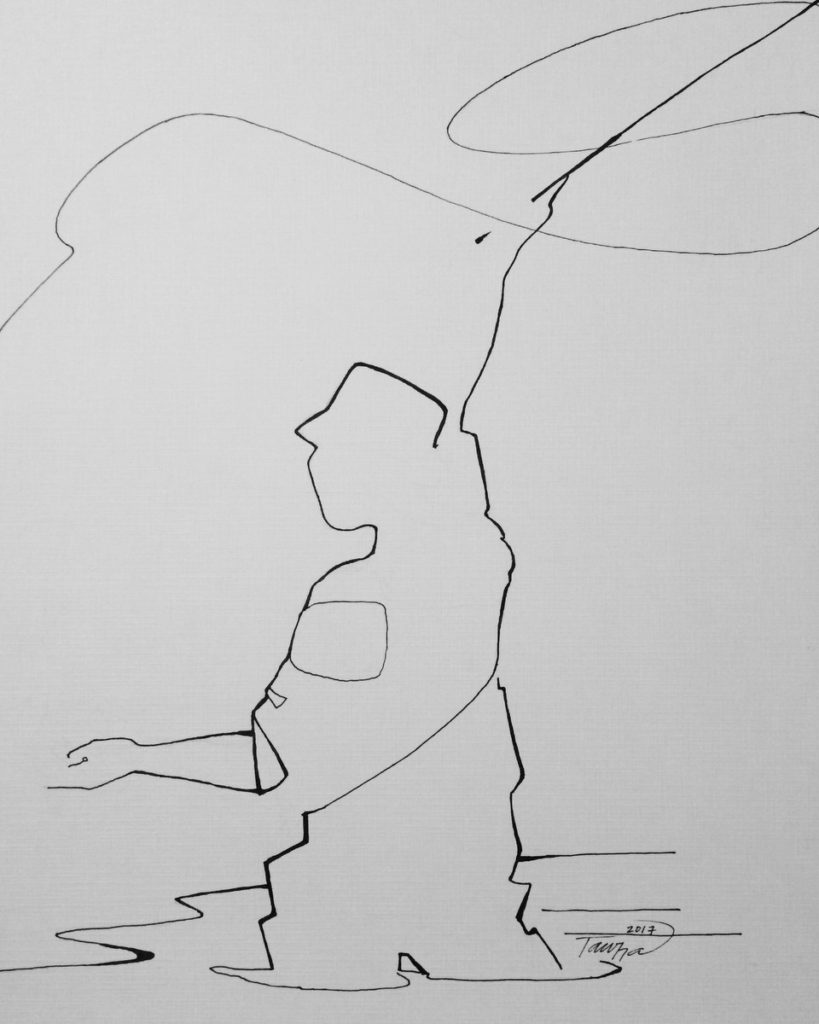black and white line drawing fly fisherman