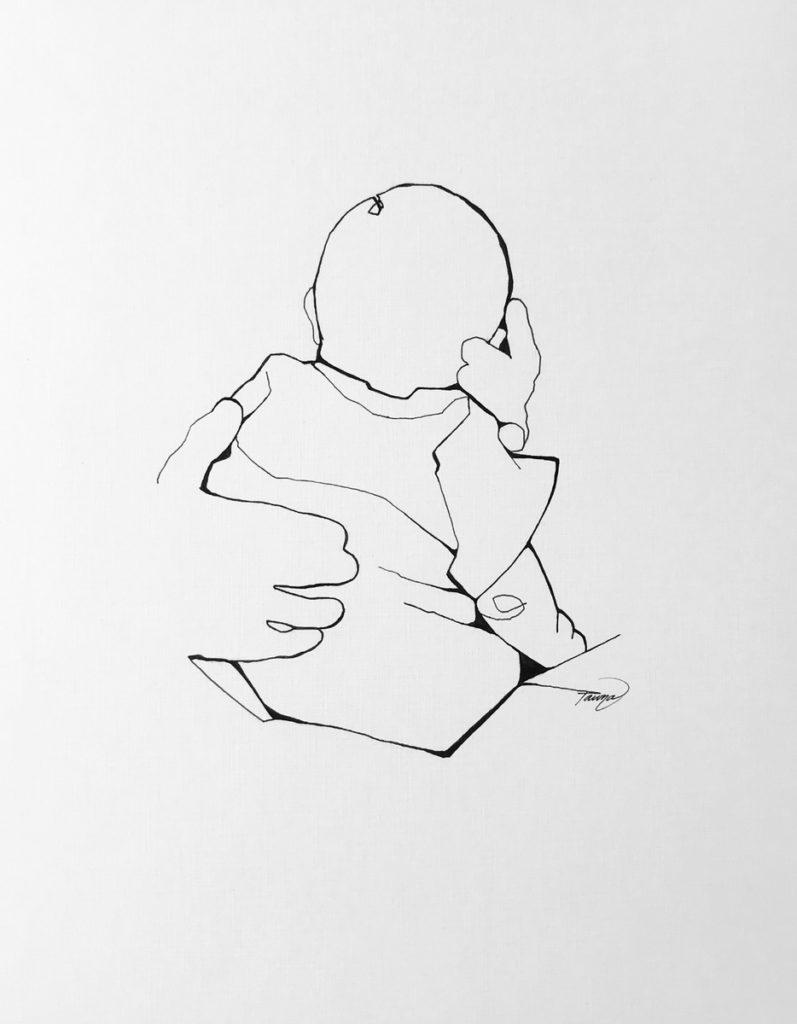 black and white line drawing of a newborn in dad's hands