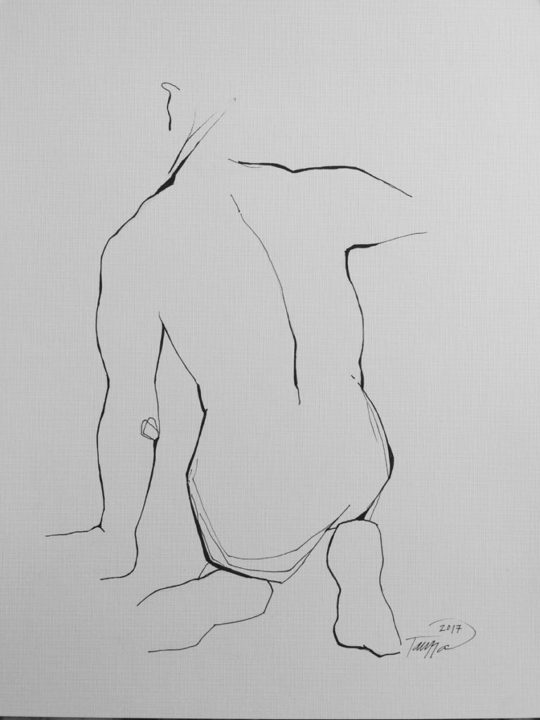 black and white line drawing male nude