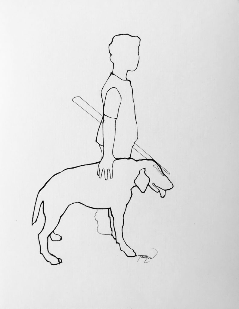 black and white line drawing of a boy hunting with his dog