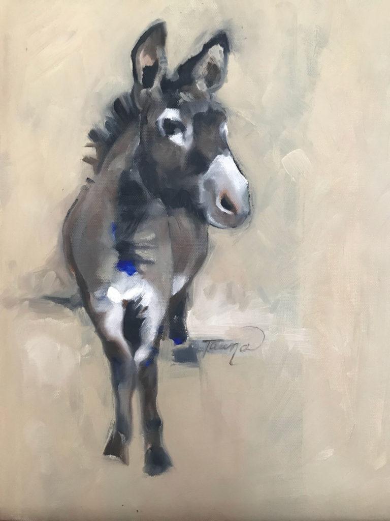 painted donkey on beige background
