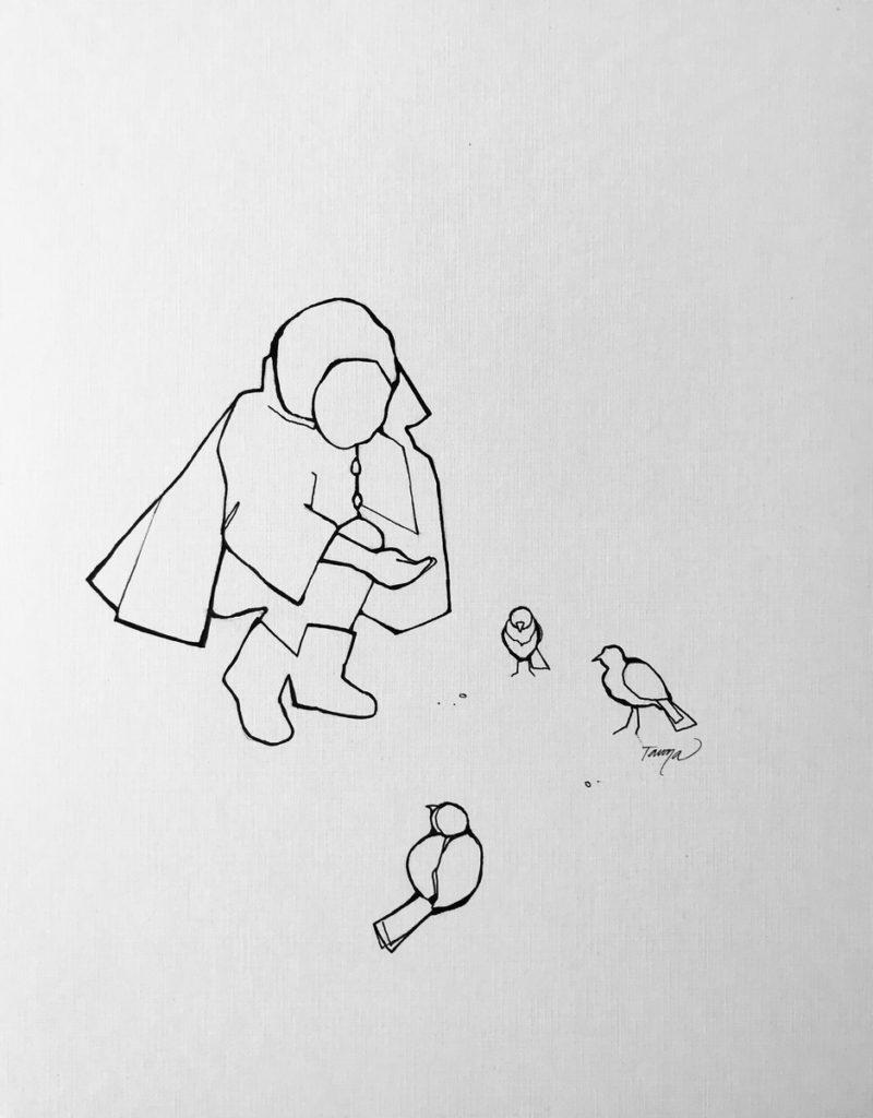 black and white line drawing girl feeding birds