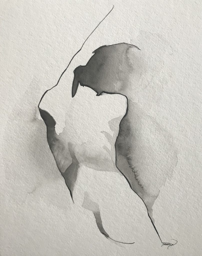 black and white watercolor woman figure painting