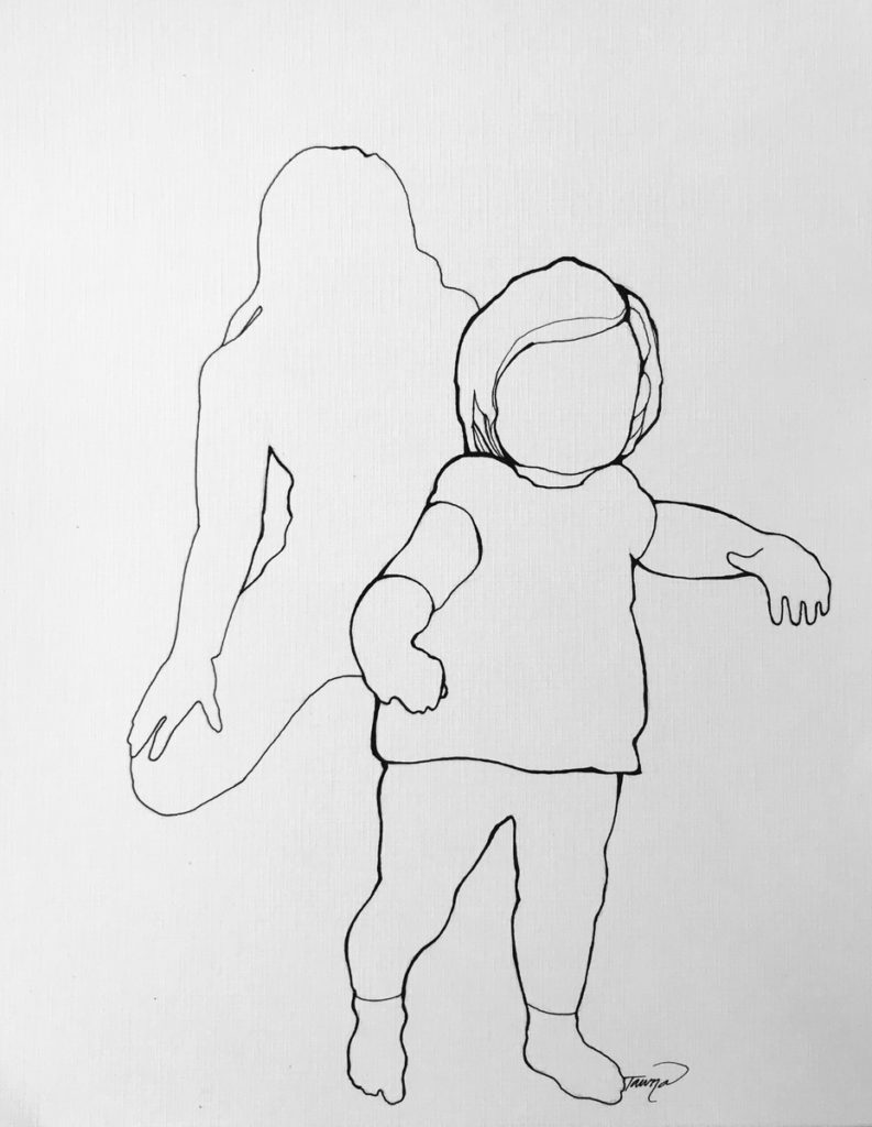 black and white line drawing of a mother watching her daughter take her first steps