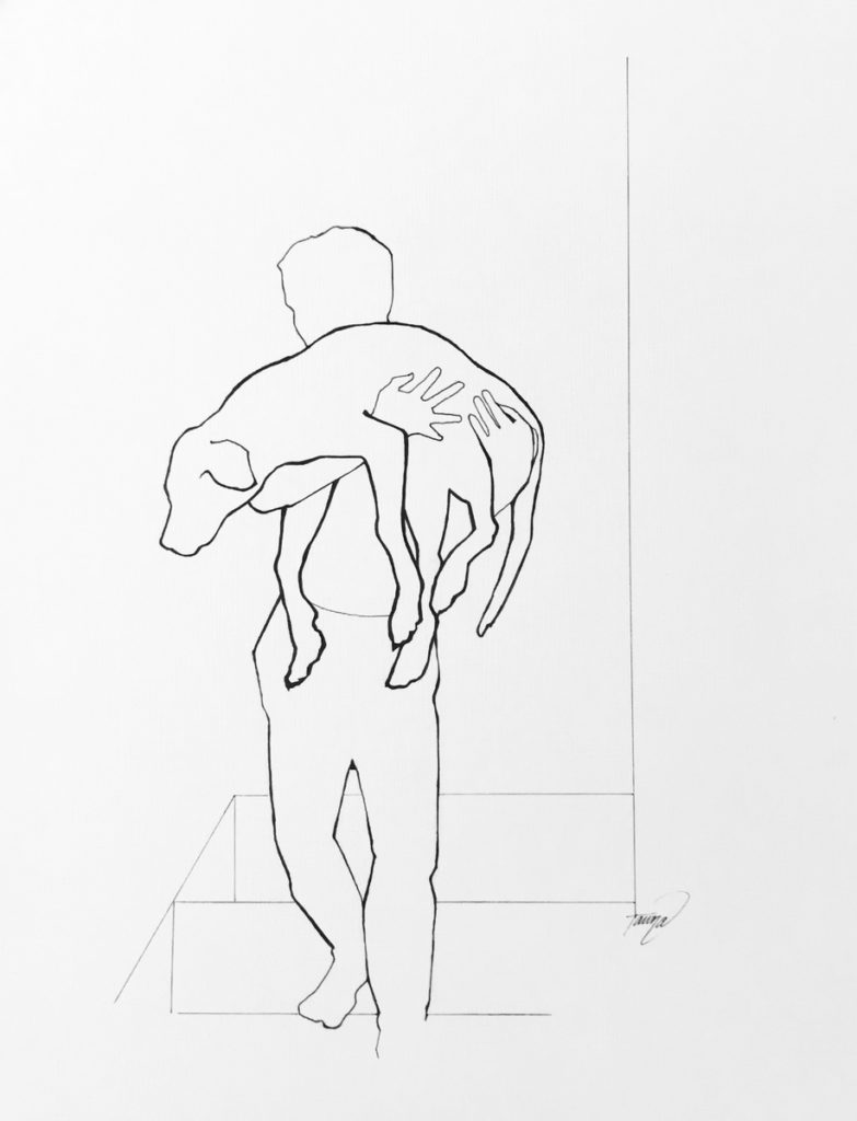 black and white line drawing of a boy carrying his dog down the stairs