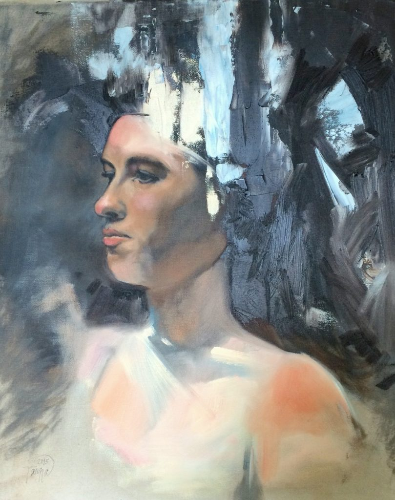 head study with abstract strokes oil painting