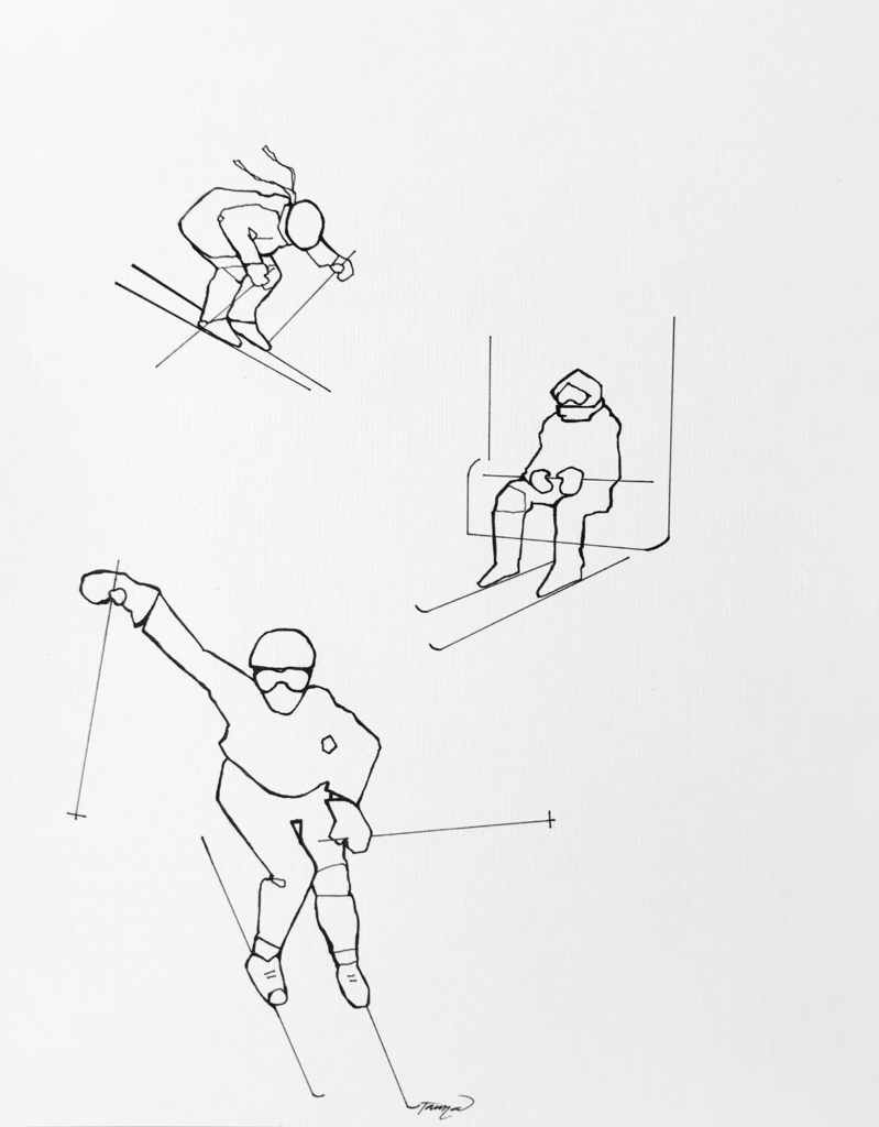 black and white line drawing of skiers