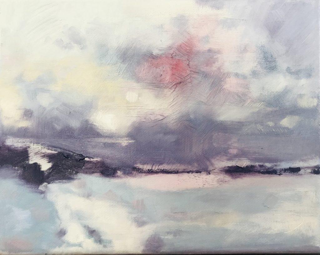 oil painting impressionist snow landscape