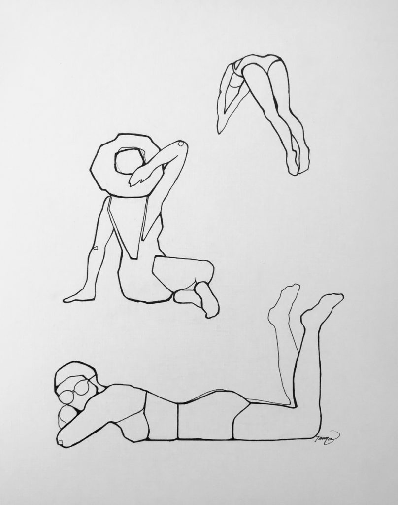 black and white line drawing of sun bathers